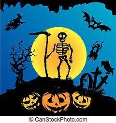 squelette, graveyard., halloween