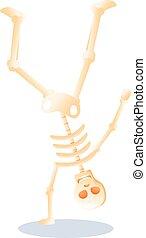 squelette, style, dessin animé, icône, danse