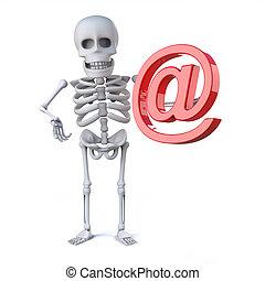 squelette, symbole, adresse, internet, a, 3d