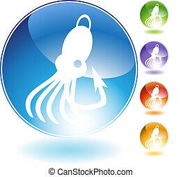 Squid Fishing Lure Crystal Icon - Squid fishing lure crystal...