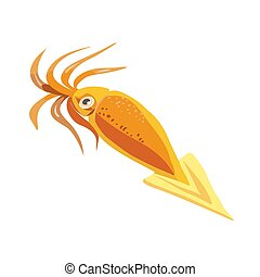 Squid isolated on white background. Vector flat color icon