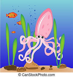 Squid on sea day - Squid floating on day of the ocean