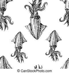 squid., patrón, seamless, vector, wallpapers., marina
