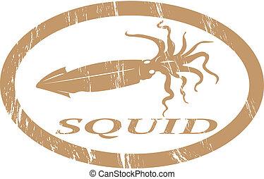 Squid. - Squid in grunge stamp effect.