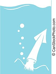 Squid Swimming in the Sea Vector Illustration