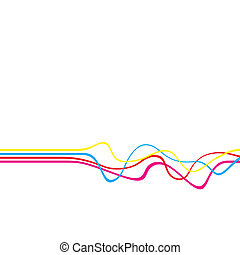 Abstract layout with wavy lines in a CMYK color scheme isolated over a white solid color background.