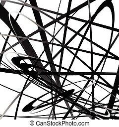 squiggly, géométrique, lines., monochrome, curvy, résumé, ...