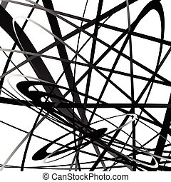 squiggly, geometrico, lines., monocromatico, curvy, astratto...