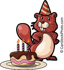 squirell with birthday cake