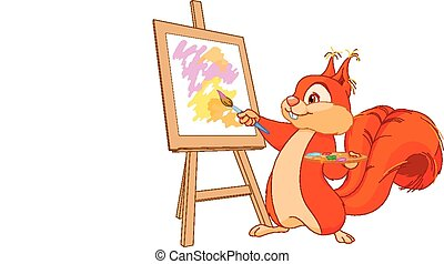 Squirrel artist - Illustration of cute squirrel draws a...