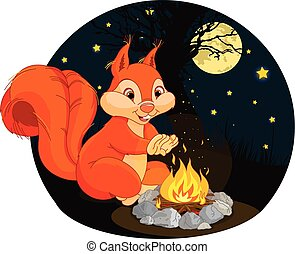 Squirrel campfire - Illustration of funny squirrel warms his...