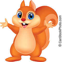 Squirrel cartoon waving hand - Vector illustration of...