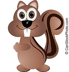 Squirrel - Crazy squirrel, vector illustration, isolated