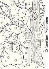 squirrel., croquis, coloration, hiver, griffonnage, pin, theme., book., main, neige, graphique, noir, adulte, année, dessiné, blanc, nouveau, snowmen, noël, paysage