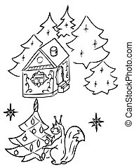 Squirrel dress up Christmas tree vector drawing
