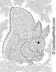 Coloring page of squirrel eating pine cone. Freehand sketch drawing for adult antistress colouring book with zentangle elements.