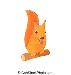 Squirrel gnaws a nut icon, cartoon style