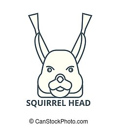 Squirrel head vector line icon, linear concept, outline sign, symbol