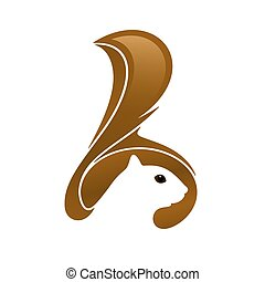 Squirrel head with tail and negative space. Vector illustration.