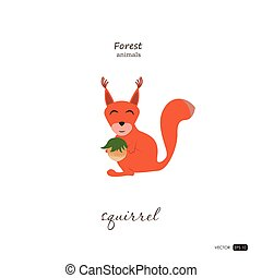 Squirrel in cartoon style on white background.