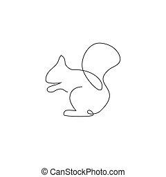 Squirrel in minimal line style vector