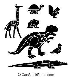 squirrel., komplet, ciało, krokodyl, rożen, różny, cięty, sylwetka, stores., jak, strony, afisz, żółw, układ, rzeźnicy, meat., dishes., delikatność, zwierzę, żyrafa, frog., pigeon., diagram, mięso, kwestia, płaty, dinozaur
