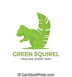 Squirrel leaf logo design template