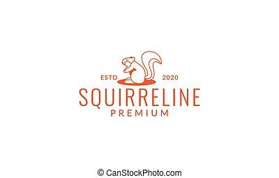 squirrel line cute cartoon smile logo icon vector illustration