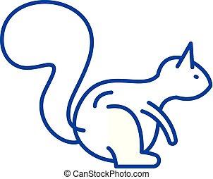 Squirrel line icon concept. Squirrel flat vector symbol, sign, outline illustration.