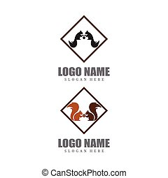 Squirrel logo template illustration design