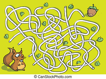 Squirrel Maze Game for children. Hand drawn illustration in eps10 vector mode. Task: find the right way to nut!