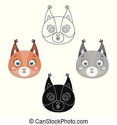 Squirrel muzzle icon in cartoon, black style isolated on white background. Animal muzzle symbol stock vector illustration.