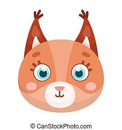 Squirrel muzzle icon in cartoon style isolated on white background. Animal muzzle symbol stock vector illustration.