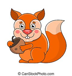 Squirrel On A White Background, Vector Illustration
