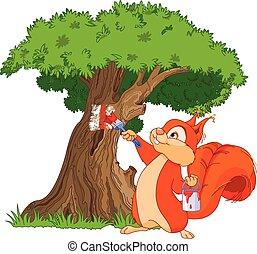 Squirrel painter