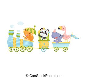 Squirrel, panda, flamingo and rhino ride a train. Vector illustration on a white background.
