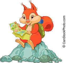 Squirrel traveler - Illustration of cute squirrel views a...