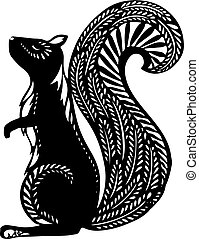 Squirrel With ethnic patterns, black silhouette on a white background.