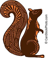 Squirrel with ethnic patterns, brown silhouette on a white background. The cartoon