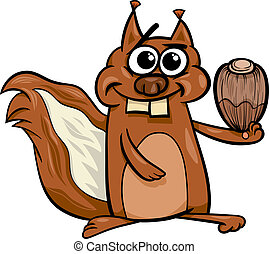squirrel with nut cartoon illustration