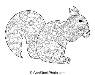 Squirrel with nut coloring vector for adults - Vector...
