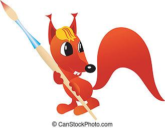 squirrel with paintbrush