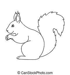 squirrel.animals, único, ícone, em, esboço, estilo,...