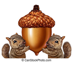 Squirrels Holding An Acorn - Squirrels holding an acorn as...