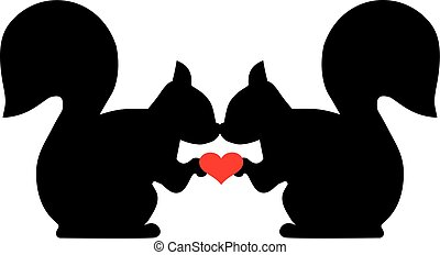 Squirrels in love with heart
