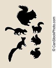 Squirrels Silhouettes