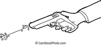 Squirt Gun Outline - Cartoon outline of hand shooting squirt...