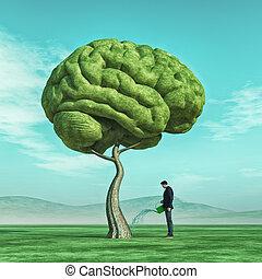 squirting, modellato, albero grande, cervello, umano, uomo