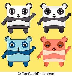Squrae panda cartoon character
