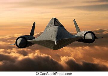 SR-71 Black Bird - SR-71 supersonic Black Bird flying above...
